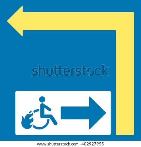 Disabled Person Fire Exit Turn Left raster illustration for street advertisement. Style is bicolor yellow and white flat symbols on a blue background.