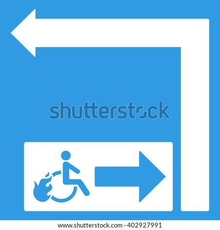 Disabled Person Fire Exit Turn Left raster illustration for street advertisement. Style is white flat symbols on a blue background.