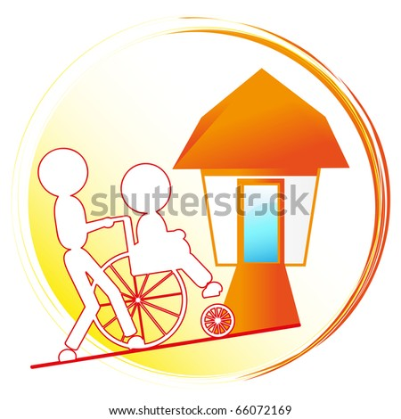 disabled person sitting in wheelchair, one person pushing - stock photo