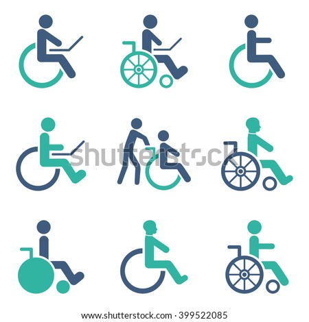 Disabled Persons glyph icon set. Style is bicolor cobalt and cyan flat symbols isolated on a white background. - stock photo