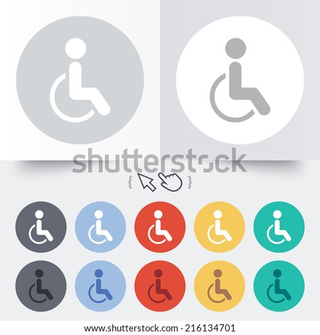 Disabled sign icon. Human on wheelchair symbol. Handicapped invalid sign. Round 12 circle buttons. Shadow. Hand cursor pointer. - stock photo