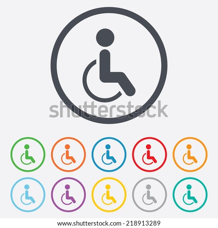 Disabled sign icon. Human on wheelchair symbol. Handicapped invalid sign. Round circle buttons with frame. - stock photo
