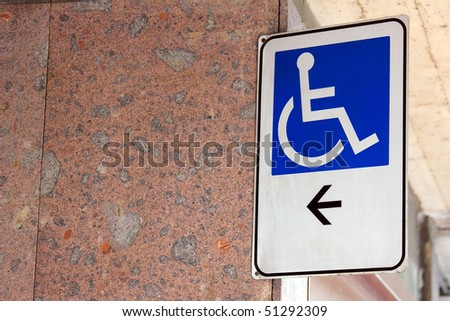 disabled sign with copy space - stock photo