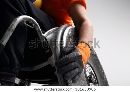 Disabled wheelchair. Wheelchair and medicine ball