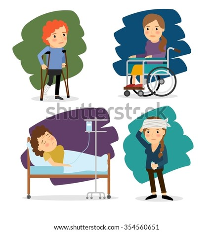 Disabled woman and ill woman - stock photo