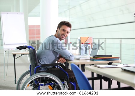 disabled worker - stock photo