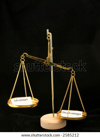 Disadvantages outweigh the advantages - stock photo