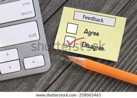 disagree choice on opinion survey - stock photo
