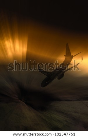 disappeared aircraft - stock photo