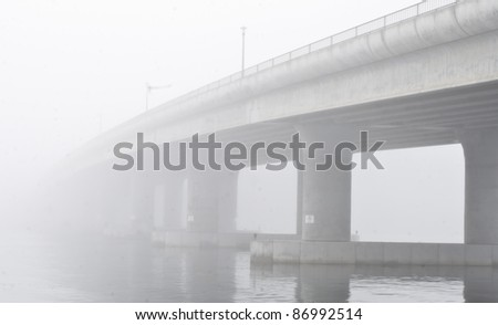 Disappearing bridge - stock photo