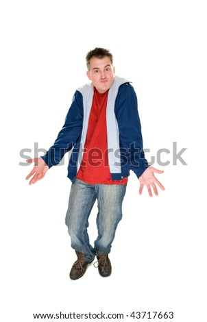 disappoint men shrug isolated on white - stock photo