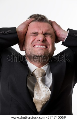Disappointed boss. Man in stress. Unlucky businessman. Business man. - stock photo