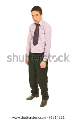 Disappointed business man looking angry to camera isolate don white background