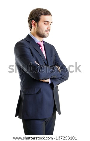 Disappointed businessman with arms crossed, isolated on white background - stock photo
