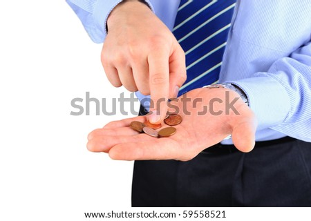 Disappointed businessman with empty pockets - stock photo