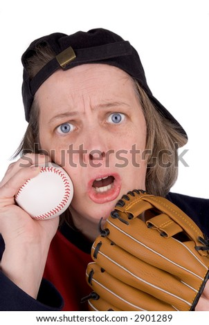 Disappointed female baseball fan with baseball,baseball,mitt, hat and t-shirt, over white - stock photo