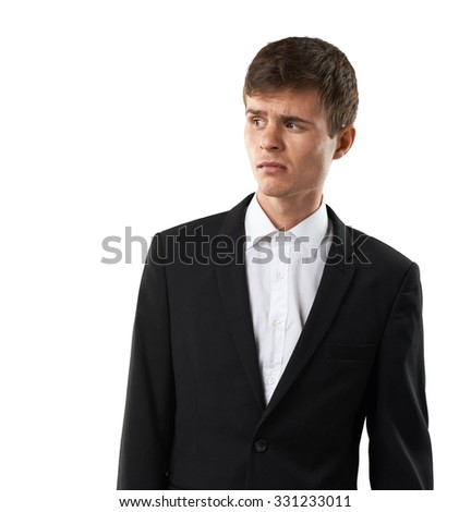disappointed man looking with disgust and disdain - stock photo