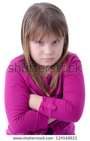 Disappointment child girl - stock photo