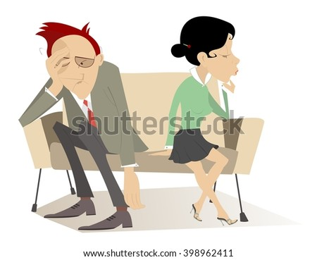 Disappointment. Man and woman in low spirits sit on the contrary edges of the sofa   - stock photo