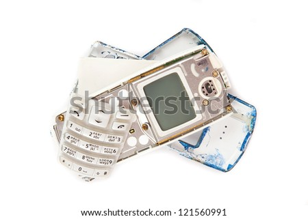 disassemble the device on a white background - stock photo