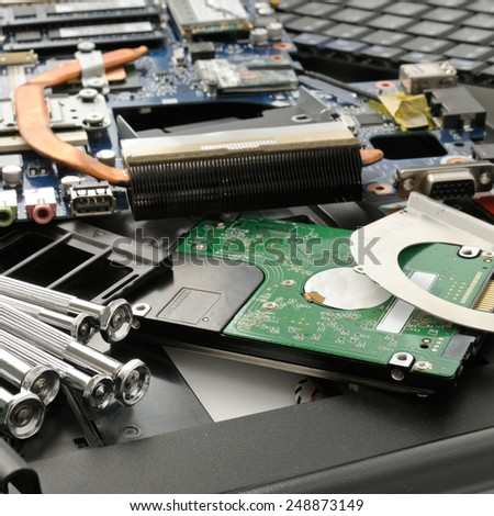 Disassemble the laptop and tools - stock photo