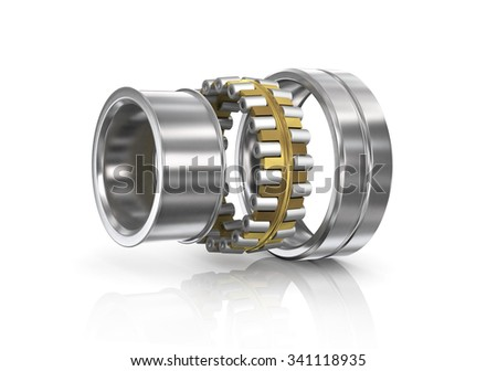 Disassembled bearing on a white background. We see components. - stock photo