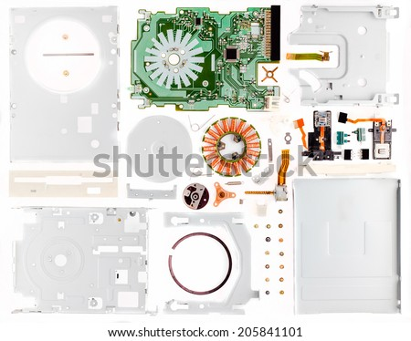 Disassembled floppy on a part - stock photo
