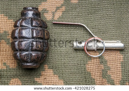 Disassembled fragmentation grenade on camouflage clothing