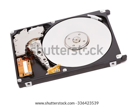 disassembled hard drive, isolated on white