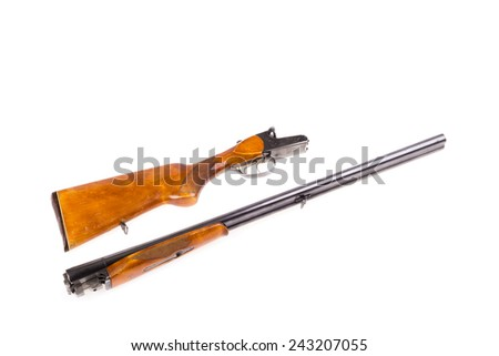 Disassembled hunting rifle isolated - stock photo