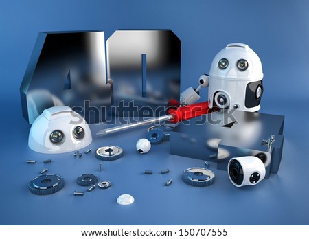 Disassembled robot with 404 error sign. - stock photo