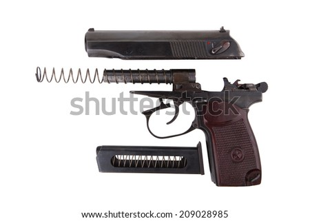 Disassembled soviet 9mm PM gun isolated on white background