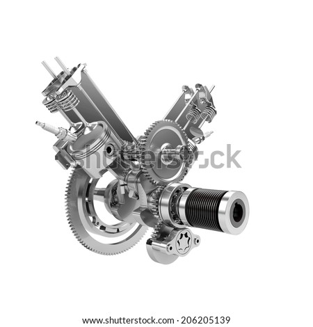 Disassembled V-twin engine of large powerful motorbike isolated on white