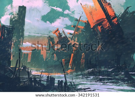 disaster city,apocalyptic scenery,illustration painting - stock photo