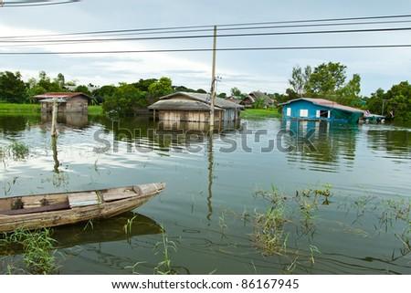 Disaster in Bang Bal, ayudhya, Thailand, September 2011 - stock photo