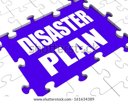 Disaster Plan Puzzle Showing Danger Emergency Crisis Protection - stock photo