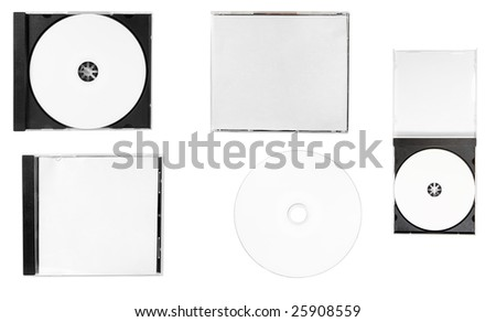 disc close up.blank disc, front cover, back cover, inlay, open case on white background.each one is in full camera resolution.