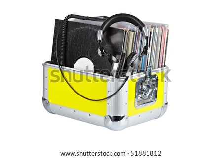 Disc Jockey box and headphones, isolated on white background. Shallow depth of field