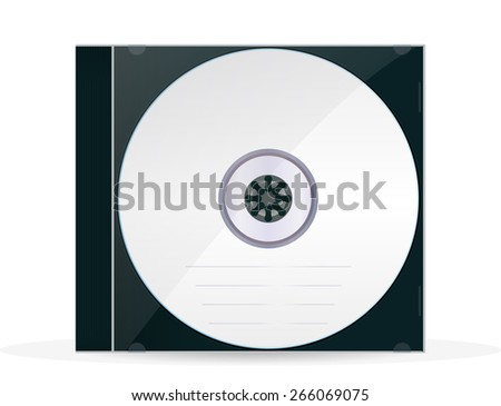 Disc with CD Box .  Isolated on white background. Raster version - stock photo