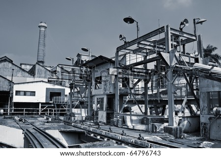 Discard industrial factory building exterior with nobody. - stock photo