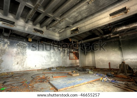 discarded building, indoor - stock photo