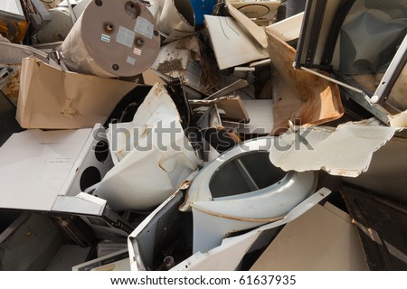 Discarded metal scraps piled for recycling - stock photo