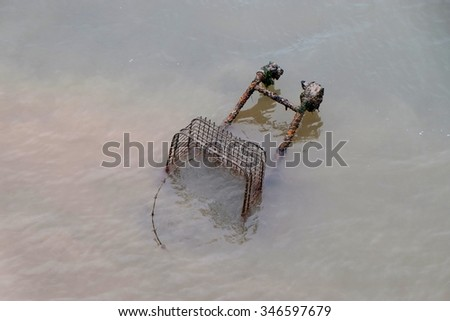 Discarded shopping trolley in water.