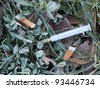 Discarded syringe in gutter with leaves and frost - stock photo