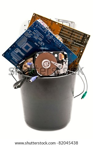 Discarded, used and old computer hardvware. Isolated on white background