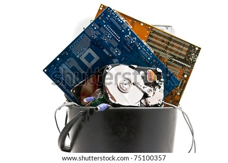 Discarded, used and old computer hardware. Isolated on white background - stock photo