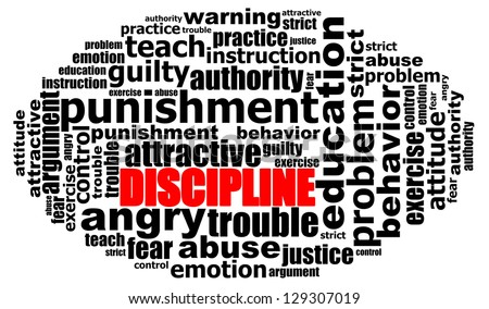 DISCIPLINE info text graphics and arrangement concept (word clouds) on white background