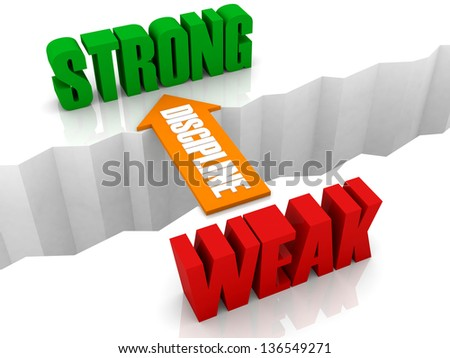 Discipline is the bridge from WEAK to STRONG. Concept 3D illustration. - stock photo