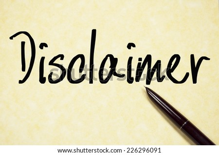 disclaimer text write on paper  - stock photo