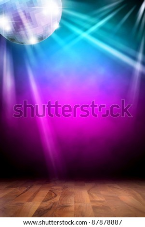 Disco background with discoball - stock photo